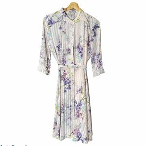 Nanette Lepore: Floral Pleated Tie Belt Button Up Long Sleeve Midi Dress 10 NWT